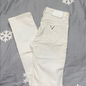 Guess white skinny jeans